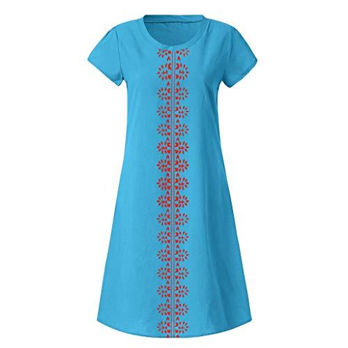 VECOLE Damenoberteile Sommer-Stil einfarbig O-Ausschnitt bedruckter Baumwollleinen lässig große Größe Damenbekleidung(Blau,XXXXXL) -