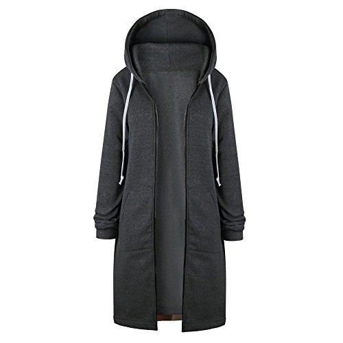 Gestrickte Lambswool (TUDUZ Damen Winter Mantel Warm Reißverschluss Öffnen Hoodies Einfarbig Beiläufig Lange Ärmel Sweatshirt Lange Mantel Tops Outwear Winter Jacke (S, Grau))