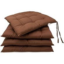 """ZOLLNER® 4 cómodos cojines para silla / cojines de terraza / cojín acolchado, para interior y exterior, 40x40 cm, con lazos, marrones, en otros colores, del especialista para hostelería, serie """"Mali"""""""