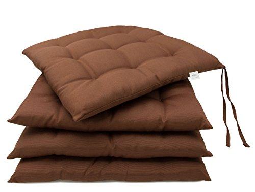 ZOLLNER® 4 cómodos cojines para silla / cojines de terraza / cojín acolchado, para interior y exterior, 40x40 cm, con lazos, marrones, en otros colores, del especialista para hostelería, serie 'Mali'