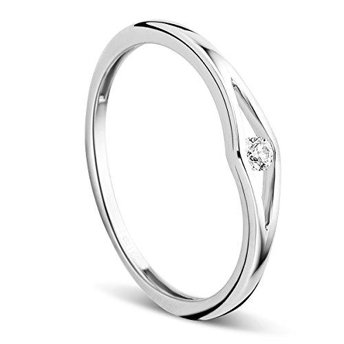 Orovi Ring für Damen Schmuck Weißgold 9 Karat/ 375 Gold Solitär VerlobungsRing mit Diamant Brillant 0.05 ct