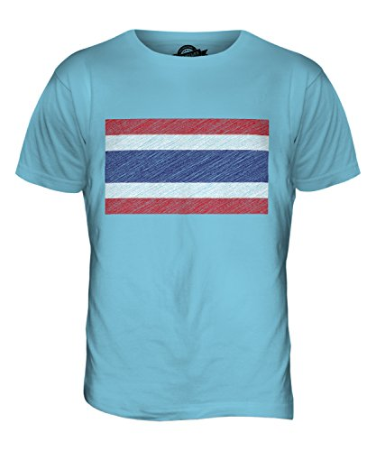 CandyMix Thailand Kritzelte Flagge Herren T Shirt Himmelblau