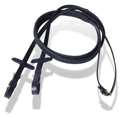 Hochwertig, englisches Leder, gummiert, Zügel für Zaumzeug/20.32 5 cm breit, schwarz, Größe Extra Full