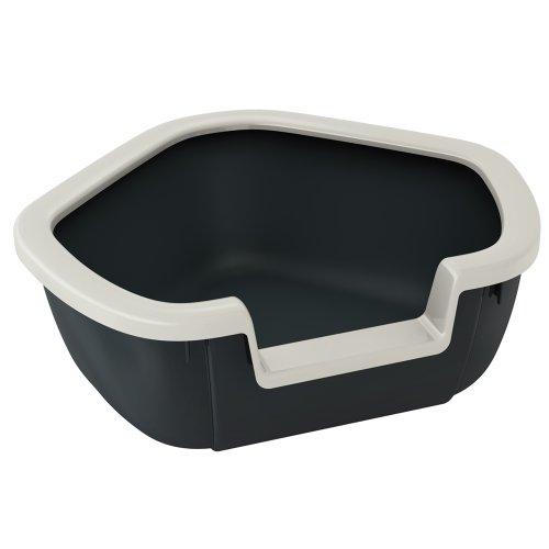 Ferplast Katzentoilette Dama für Raumecken - Robuste Katzentoilette mit hohem, abnehmbarem Rand für eine hygienische Reinigung - Farbe: Schwarz - Maße: 57,5 x 51,5 x 22 cm