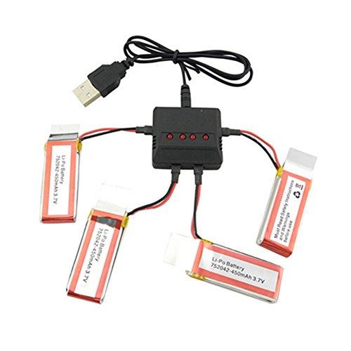 Creation 4 policías batería de 3.7V 450MA HL i-PO y 1to4 cargo...