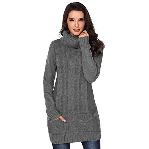 KAIDILA Cowl Neck Kabel Stricken Pullover Kleid Multi-Color Optional Herbst und Winter Solid Color Lange Ärmel mit Tasche Turtlen Eck gerippt gestrickten MIDI-Frau -