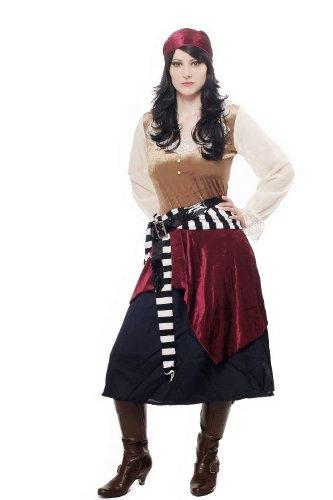 DRESS ME UP - Kostüm Damen Damenkostüm Aufwändiges Set Sexy Piratin Piratenbraut Freibeuterin Seeräuberin L049 Gr ()
