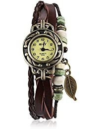 Naivo Women's Quartz Brass Plated Stainless Steel and Leather Casual Watch Color:Brown (Model: NAIVO-WATCH-1183)