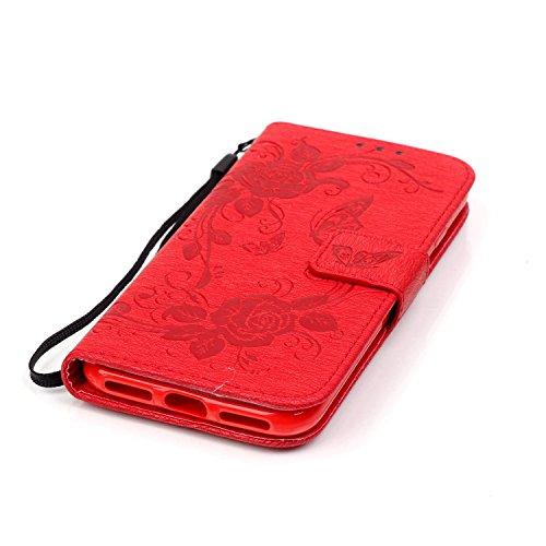 iPhone 7 Hülle,iPhone 7 Ledertasche Handyhülle Brieftasche im BookStyle,SainCat PU Leder Hülle Wallet Case Folio Schutzhülle Vogelfedern Muster Lederhülle Scratch Bumper Handytasche Backcover Handy Ta Schmetterlings Rose-Rote