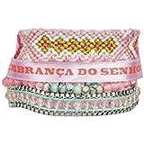 Hipanema Bracelet Multi-Rangs Mauritius, Rose et Turquoise - Taille S, M ou L (Longueur : 17 à 19 cm)