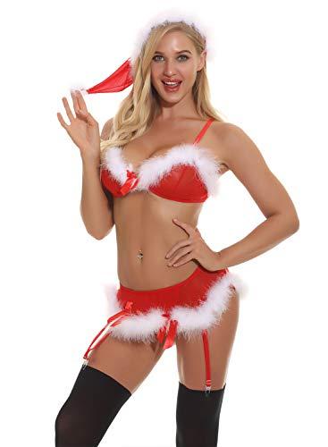 Feoya Damen Weihnachten erotische Dessous Geschlitzt Riemen sexy Dessous Babydolls Chemise Nachtwäsche Dessous Set Size L - Spitze Stoff Trim Doll