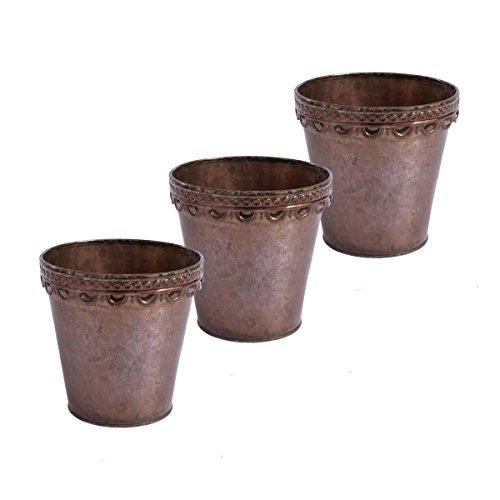 Lot de 3 pots de fleurs planteur plante pot rond déco métal finition cuivre motif Verdigris (D15 x H15 cm)