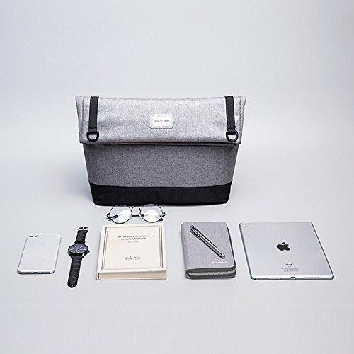 Eshow Männer Side Umhängetasche Crossbody Umhängetasche Multifunktionale Modische Casual Business Bag, Grau Schwarz