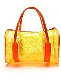 hugestore Niñas resistente al agua Jelly transparente bolsa de playa bolso de mano bolso de mano bolsas de bolsa de almacenamiento bolsa de natación de PVC naranja Naranja