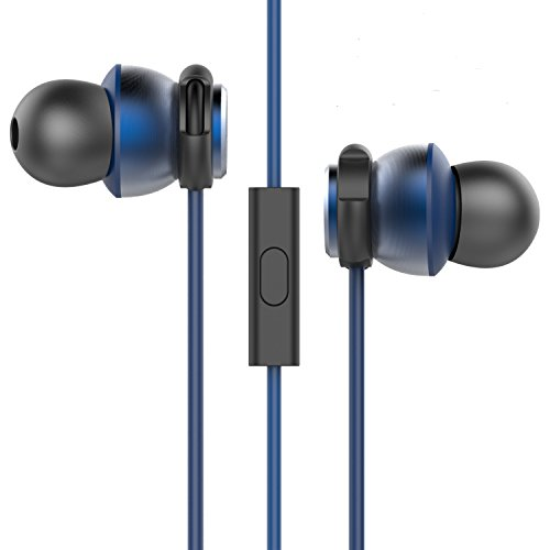 KZON 3.5mm Wired Noise Cancelling In-Ear Kopfhörer mit Mikrofon Freisprechen, Schweißbeweis Stereo Bass Sport Kopfhörer Sichere Passform Laufen Jogging Fitnessstudio Übung für iPhone Samsung iPad Laptop Macbook MP3 MP4 Spieler(BLAU)