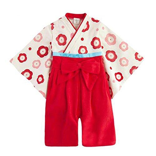 Haodasi Baby Mädchen Mode Stramplers Jumpsuits Hakama Style Kimono Suit Top Hosen Sets Säugling Kleinkind Lange Ärmel Winter Herbst Overalls Outfits 3-9 Monate