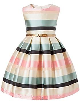 Yiiquan Vestido de Niña, Sin Mangas Vestidos de Princesa Elegantes Rayas Cuello Redondo Swing Dress