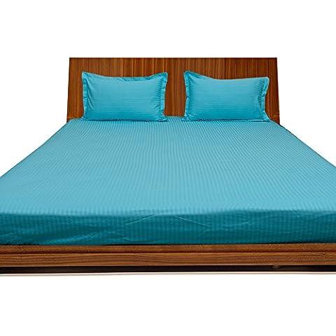 royallinens 400magnifique 3Drap-housse à rayures (Taille de poche: 43,2cm), Coton, Turquoise Blue Stripe, Euro_Double_IKEA