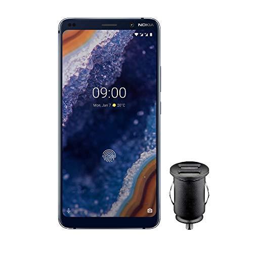 Nokia 9 PureView Dual SIM Smartphone - Prodotto tedesco (15,21 cm (5,99 pollici) QHD + POLED Display, 128 GB ROM, 6 GB RAM, Android 9 Pie) Blu, Esclusivo Amazon Edition con adattatore per auto da 12 V