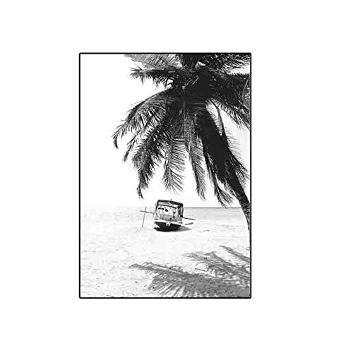 Ywsen Schwarz Weiß Palm Tree Leaves Leaves Nordic Home Decoration Minimalist Leinwand Poster und Drucke Malerei Wandkunst Dekorative Bilder60x80 cm No Frame