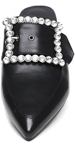 Calaier Femme Cachoose 2CM Bloc Glisser Sur Mules et sabots Chaussures Noir