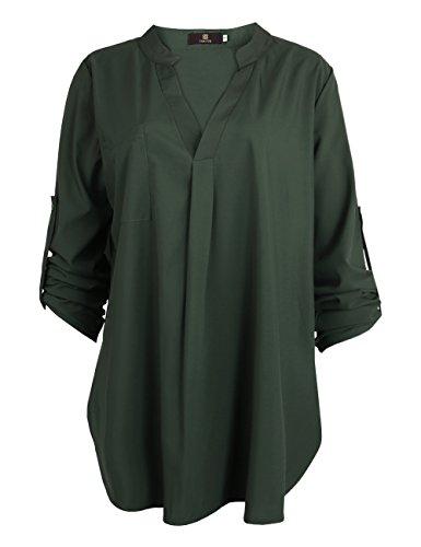 ISASSY Casual Damen Bluse Shirt locker Chiffon Bluse V Ausschnitt 3/4 rmel, Dunkelgrn, L / 40 (3/4 Ärmel Bluse Länge)