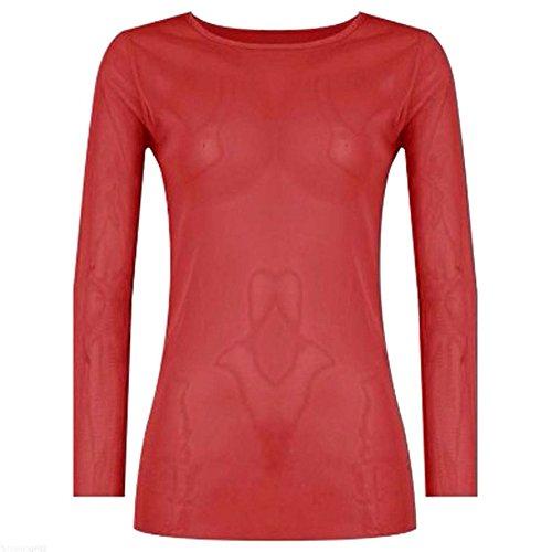The Home of Fashion -  Maglia a manica lunga  - Basic - Donna Rosso