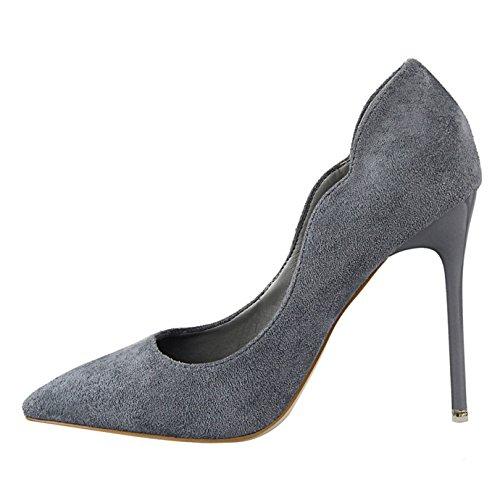 OALEEN Escarpins Femme Bout Pointu Elégant Effet Daim OL Soirée Mariage Chaussures Talon Haut Aiguille Gris