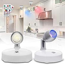 Lampe de Placard, Elfeland Applique Murale Orientable 2 Pack RGB 16 Couleurs Projecteur à piles à LED Minuterie Luminosité Réglable avec Télécommande pour Plafonniers/Murs/Couloir/Chambr/Cuisine