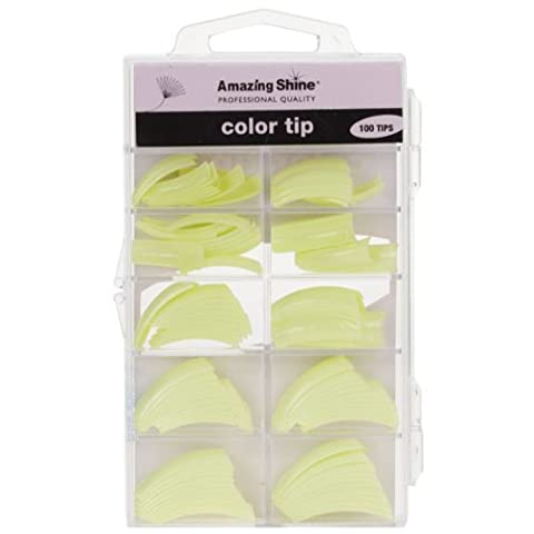Amazing Shine 100 Coloured Nail Tips - Light Green (02217)