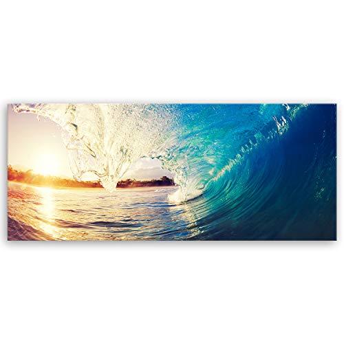 hochwertiges Leinwandbild Panorama XXL Naturbilder - The Wave - Welle Surfen Wasser Sonnenuntergang blau gelb orange - 120 x 50 cm einteilig 2212 S