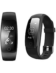 Tracker d'activité COOSA Bracelet Intelligent étanche avec OLED Écran Tactile Multi-fonctions Fitness Tracker Podomètre Calories Sommeil Fréquence Cardiaque Temps Chronographe Relaxation ect