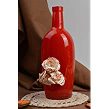 Botella de vidrio pintada botella artesanal roja regalo original para mujer