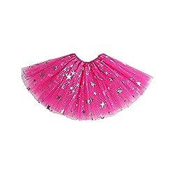 Vovotrade Tutu Rock Ballettrock Mädchen Tütü Minirock Tüll Tüllrock Prinzessin Regenbogen Röckchen Tanzkleid Pentagramm Paillette Heißprägen