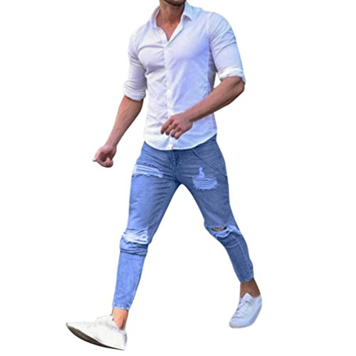 Jeans Herren,Binggong Stretchy Ripped Skinny Biker Jeans für Herren mit Destroyed Taped Slim Fit Denim Hosen Enge Loch Füße Jeanshose Mode Casual Pants S-4XL (Blau, S) (True Kinder-jeans Religion)