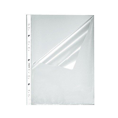 Herlitz 10840098 Prospekthülle A4 genarbt, 1000er Packung, oben und seitlich offen