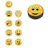 Navaris Calamite Piccole Emoji per frigo - Set 10 magneti potenti Smile per Frigorifero Cucina - 10x Calamita Magnete per Lavagna Magnetica - 3 Design