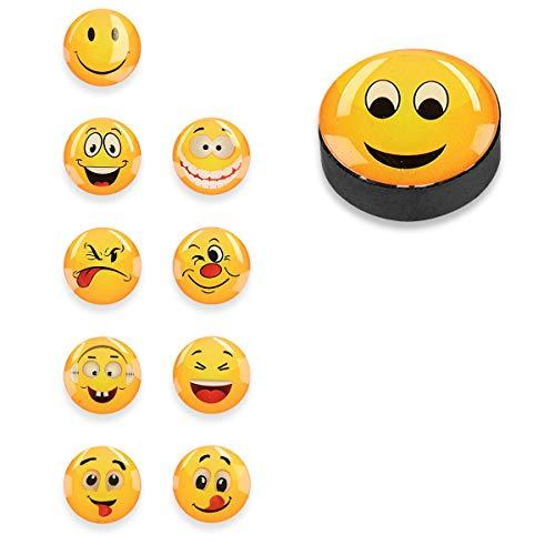 Navaris Emoji Magnete Kühlschrank Magnet Set - 10x Smiley Kühlschrankmagnete rund stark - Deko...