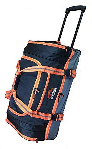 Gran bolsa de viaje 65L con ruedas. Bolsa de carro ligero. Buena calidad Negro y naranja