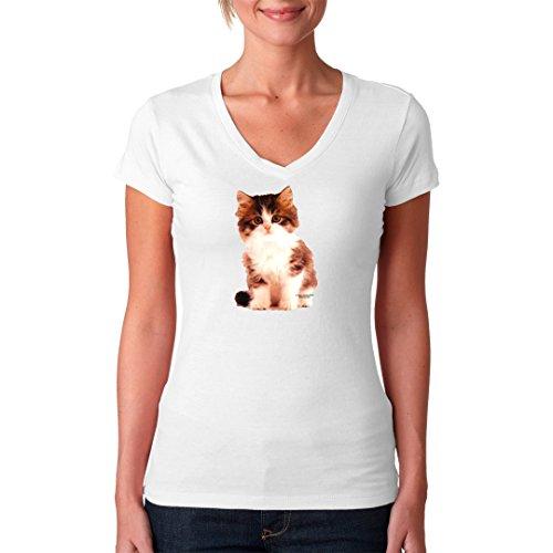 Fun Girlie V-Neck Shirt - Kleines Kätzchen by Im-Shirt Weiß