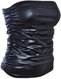 The Home of Fashion Bustier ruché noir en PVC effet mouillé pour femme