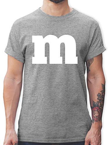 Karneval & Fasching - Gruppen-Kostüm m Aufdruck - M - Grau meliert - L190 - Herren T-Shirt und Männer Tshirt (Für Beste Ideen Freunde Zwei Kostüm)