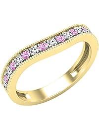 Dazzlingrock Collection - Banda de boda apilable para mujer, piedra preciosa redonda y diamante blanco, oro amarillo de 14 quilates