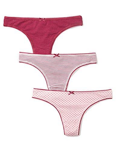 Iris & Lilly Damen String Cotton, 3er Pack, Mehrfarbig (Beet Red Strip/Beet Red/Beet Red Dot), Gr. Small