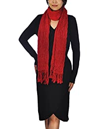 Women Ladies Long Chunky Bubble Scarf Fashion Lovely Women Scarves (Red)