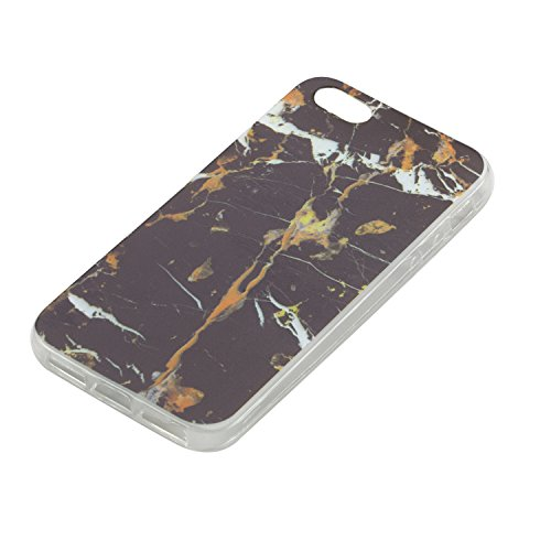 Custodia iPhone 5S, iPhone SE Cover Silicone, SainCat Cover per iPhone 5/5S/SE Custodia Silicone Morbido, 3D Design Ultra Slim Transparent Silicone Case Ultra Sottile Morbida Transparent TPU Gel Cover Marmo Nero