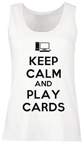 Keep Calm And Play Cards Donna Canotta T-shirt Bianco Cotone Girocollo Maniche Corte White Men's Tank T-shirt
