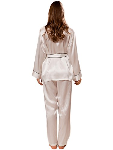 Ellesilk Élégant Silk Pajamas des femmes Blanc / Noir