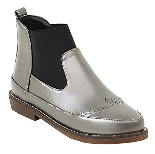 YE Damen Fashion Elegant Flache Brogues Ankle Boots Slip on Stiefel Silber