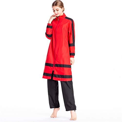 Lazzboy Frauen Muslimischen Badeanzug Mit Kappe Volltonfarbe Beachwear Bademode Zurückhaltenden Swimwear Hijab Abnehmbarer, Voller Länge Burkini(Rot,M)
